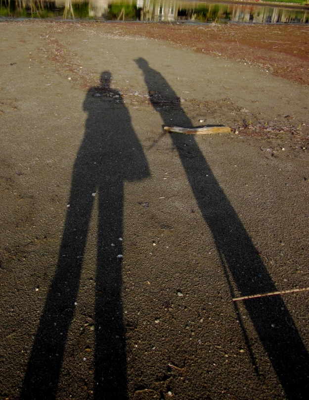 Elongated shadows of two people at low sun. Ground is sandy beach. Cane of one figure visible at the base.
