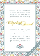 The wedding invitation, with a patterned damask of Lord Ganesh and bicycles in blue-grey, accents of yellow-gold, and bright orange and pink flowers.