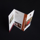 A view top/side view of the z-fold brochure, showing its folds.
