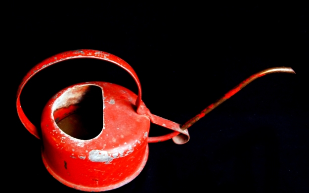 Chipped red painted metal watering can, sideview facing right.