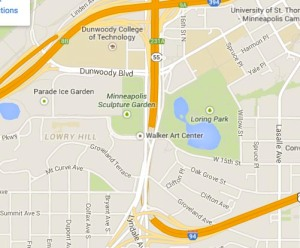 Hennepin and Lyndale with highways, courtesy of Google Maps