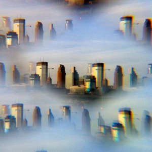 Minneapolis skyline from the south, clear skies, refracted through a prism