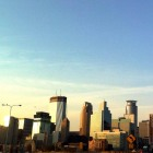 Minneapolis skyline from the south, just before sunset, clear skies