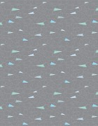 Paper airplanes in shades of light blue and light grey with dashed line contrails against a medium gray background.