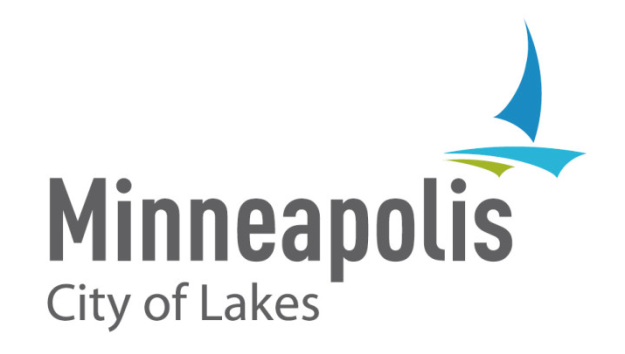 "Minneapolis and its tagline, ""City of Lakes,"" with single sailboat and off-centered tittles"