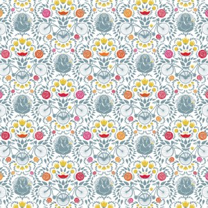 A repeating damask pattern made up of Lord Ganesh and joined bikes, with stylized zinnia/ranunculus flowers and leaves/hops (yes, as in beer!) providing a backdrop. In a blue/gray color with highlights of golden yellow, and shades of orange, hot pink, red, etc.