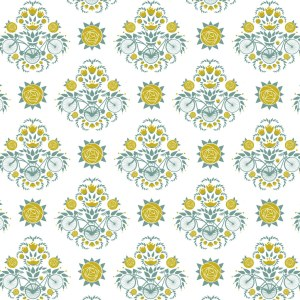 Repeating pattern in gold and grey-blue with bikes and stylized ranunculus.