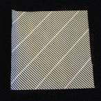 Close-up of security envelope with black pattern of uniform diagonal rows of parallel lines with thin white space between on white paper used for happify origami cranes.
