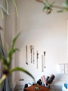 Blurry plants form the foreground for backdrop of necklaces on upholstery nails on bathroom wall, brushes/combs/etc on top of the toilet below.