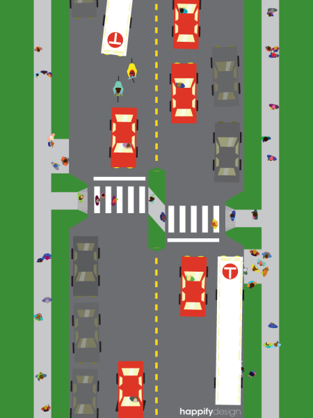midblock crosswalk with bumpouts